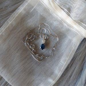 BLUE NILE Tear Drop Sapphire Diamond Pendant
